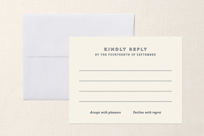 """""""Vintage Stitch"""" - Rustic, Vintage Print-it-yourself Rsvp Cards in Charcoal by Oscar & Emma."""