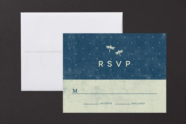 """Twinkle"" - Rustic Print-it-yourself Rsvp Cards in Midnight by Snow and Ivy."