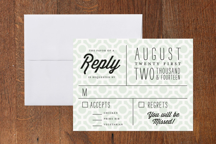 """""""Mod Dots"""" - Modern, Bold typographic Print-it-yourself Rsvp Cards in Seafoam by Alethea and Ruth."""
