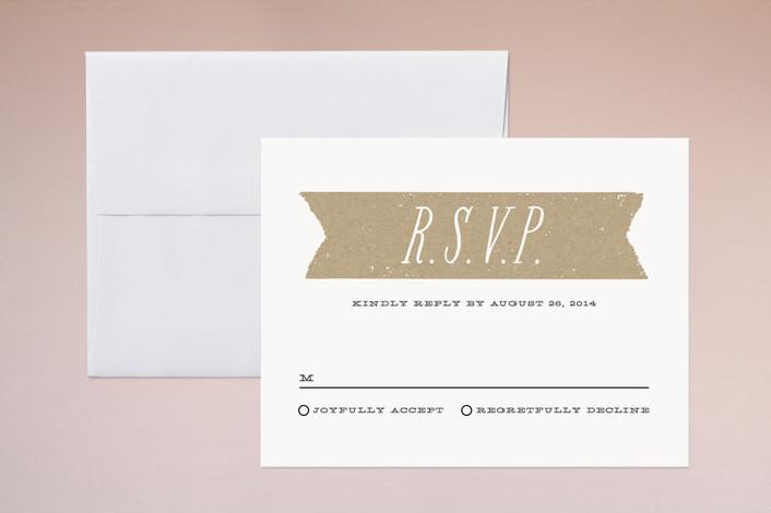"""Kraft Label"" - Modern, Bold typographic Print-it-yourself Rsvp Cards in Black by Lehan Veenker."