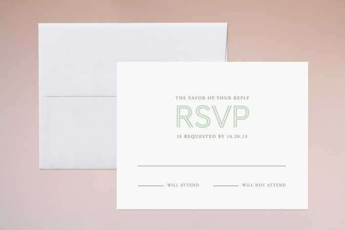 """His and Hers"" - Simple, Bold typographic Print-it-yourself Rsvp Cards in Mint by Sandra Picco Design."