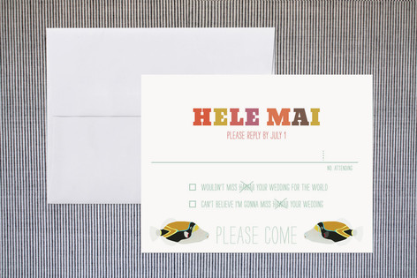 """""""Humuhumu 10x"""" - Bold typographic, Beach Print-it-yourself Rsvp Cards in Ocean by Guess What Design Studio."""