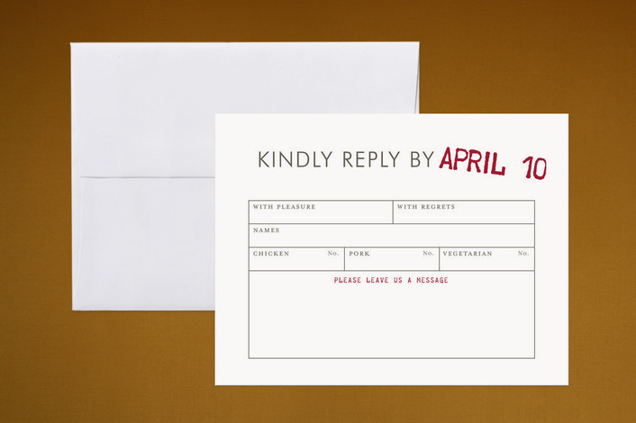 """Telegram"" - Monogrammed, Vintage Print-it-yourself Rsvp Cards in Crimson by The Social Type."