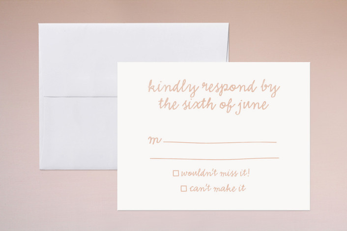 """Charm School"" - Whimsical & Funny, Bold typographic Print-it-yourself Rsvp Cards in Apricot by The Social Type."
