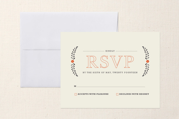 """Country Inn"" - Rustic Print-it-yourself Rsvp Cards in Persimmon by Kristie Kern."
