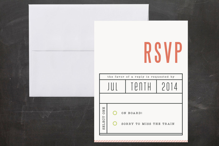 """""""Ticket to Love"""" - Destination, Whimsical & Funny Print-it-yourself Rsvp Cards in Coral by WHALEN."""