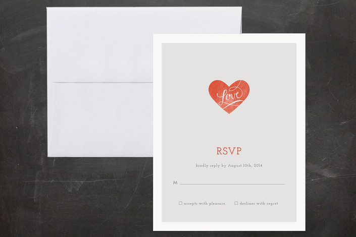 """""""Heart on Our Sleeves"""" - Modern, Simple Print-it-yourself Rsvp Cards in Coral Rose by CRAFTE design."""