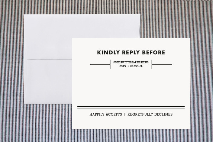 """True"" - Modern, Bold typographic Print-it-yourself Rsvp Cards in Black by Samantha Venator."