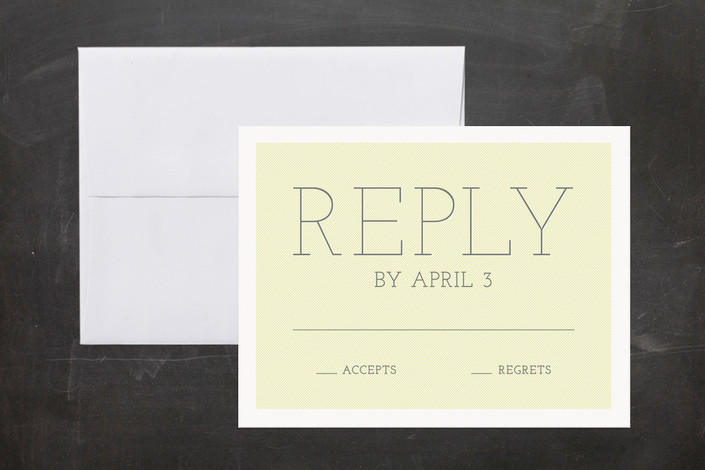"""""""Big Highlight"""" - Bold typographic, Modern Print-it-yourself Rsvp Cards in Chartreuse by The Social Type."""