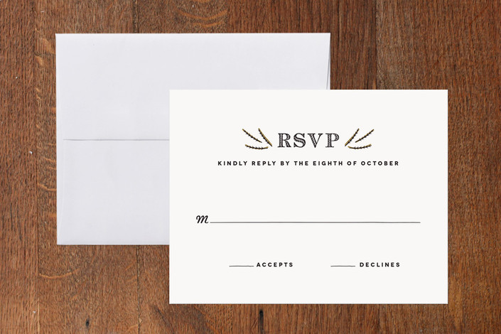 """""""Farm to Table"""" - Rustic, Vintage Print-it-yourself Rsvp Cards in White by Lesa Abney."""