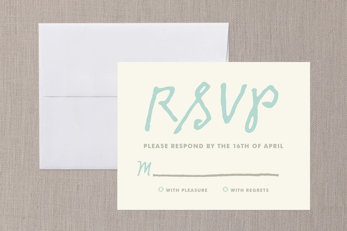 """You+Me"" - Simple, Bold typographic Print-it-yourself Rsvp Cards in Sky by The Social Type."