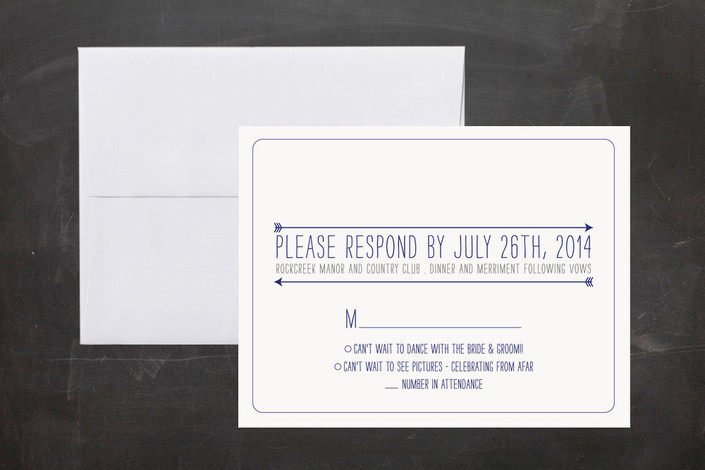 """Timeline of Events"" - Whimsical & Funny, Modern Print-it-yourself Rsvp Cards in Indigo by Bethany Anderson."