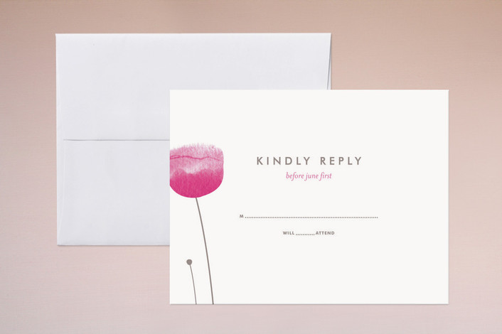 """""""Poppy and Paint Redux"""" - Floral & Botanical Print-it-yourself Rsvp Cards in Petal Pink by kelli hall."""