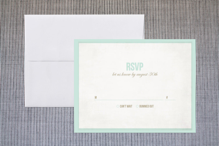 """Beach Bums"" - Modern, Beach Print-it-yourself Rsvp Cards in Seafoam by trbdesign."