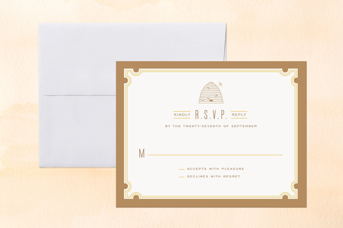 """Sweet Honey"" - Bold typographic, Modern Print-it-yourself Rsvp Cards in Honey by cambria."