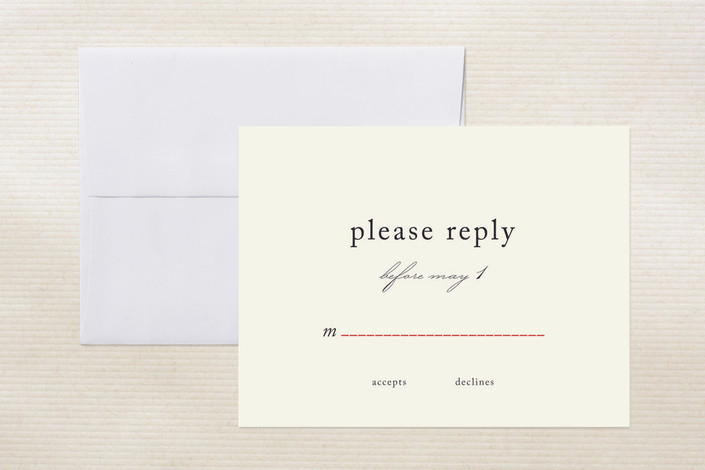 """""""Dotted and Brush"""" - Classical Print-it-yourself Rsvp Cards in Red by Tyler Tea."""