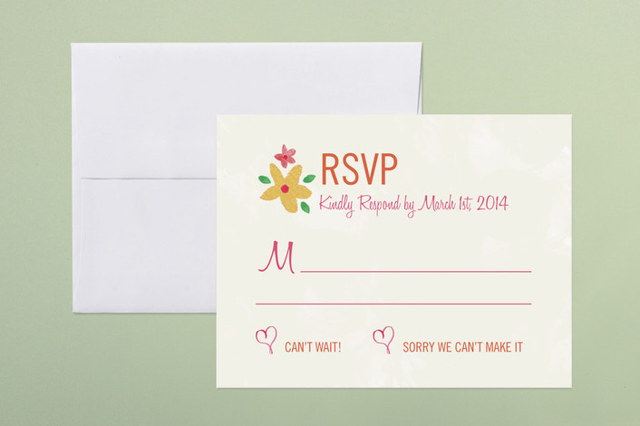 """""""Con Amor Hand Painted"""" - Floral & Botanical, Hand Drawn Print-it-yourself Rsvp Cards in Rose by Jen Serafini."""