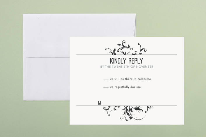 """Falling Vines"" - Classical, Winery Print-it-yourself Rsvp Cards in Charcoal by R studio."