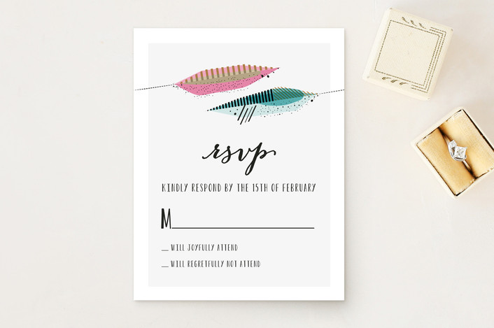 """Art Quill"" - Modern Print-it-yourself Rsvp Cards in Salmon by Rebecca Bowen."
