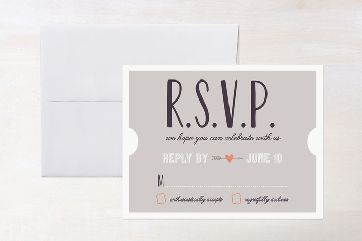 """The Winning Ticket"" - Whimsical & Funny, Destination Print-it-yourself Rsvp Cards in Charcoal by Erica Krystek."