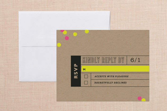 """California Dreamin"" - Bold typographic, Modern Print-it-yourself Rsvp Cards in Magenta by cadence paige design."