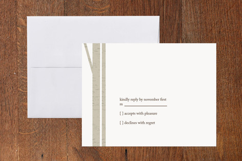 """""""Winter Birch"""" - Modern Print-it-yourself Rsvp Cards in Feather by Marabou Design."""