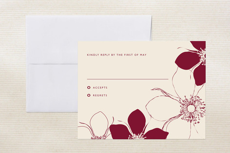 """Modern Lotus"" - Floral & Botanical Print-it-yourself Rsvp Cards in Sangria by Milkmaid Press."