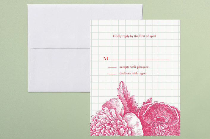 """""""Bibliotheque"""" - Floral & Botanical Print-it-yourself Rsvp Cards in Bright Magenta by beth perry DESIGN."""