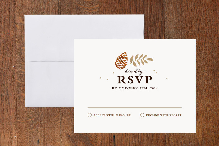"""""""Gold + Pine"""" - Rustic Print-it-yourself Rsvp Cards in Sienna by Kristen Smith."""