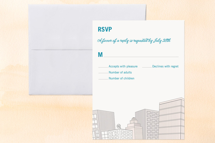 """Citywide Declaration"" - Whimsical & Funny, Destination Print-it-yourself Rsvp Cards in Teal by bumble ink."