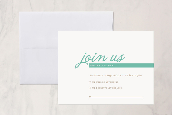 """Raising the Bar"" - Modern, Simple Print-it-yourself Rsvp Cards in Turquoise by R studio."
