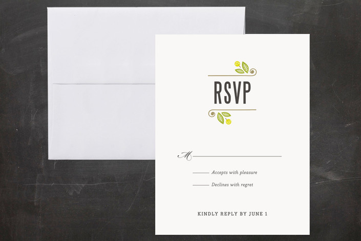 """""""Unity"""" - Bold typographic Print-it-yourself Rsvp Cards in Avocado by Griffinbell Paper Co.."""