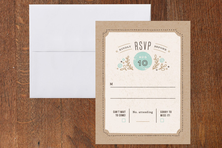 """""""Cartwright"""" - Floral & Botanical, Rustic Print-it-yourself Rsvp Cards in Sea by Jennifer Wick."""