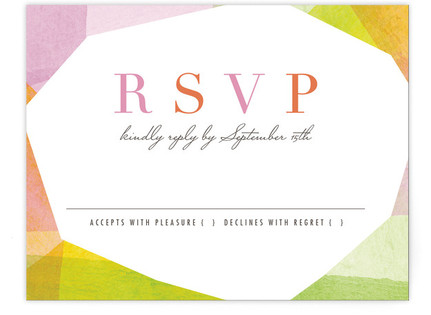Geometric Watercolor Print-It-Yourself Wedding RSVP Cards