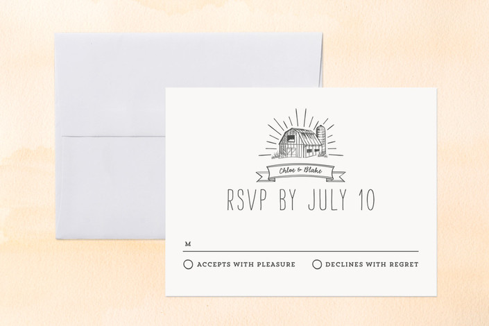 """""""Farm Fresh"""" - Whimsical & Funny, Rustic Print-it-yourself Rsvp Cards in Slate by Smudge Design."""