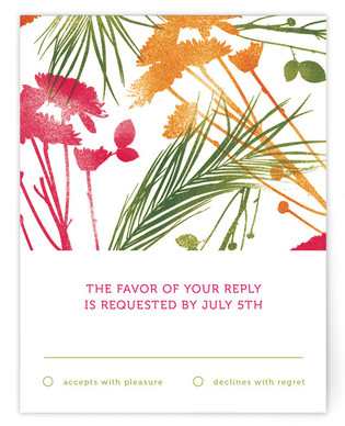 flower press Print-It-Yourself Wedding RSVP Cards