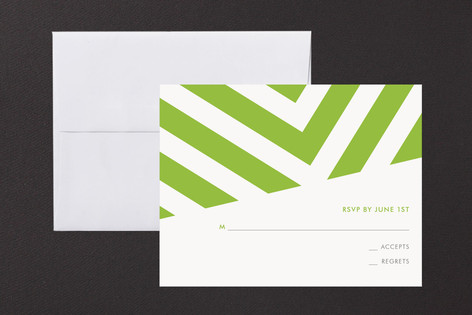 """Fracas"" - Modern Print-it-yourself Rsvp Cards in Peridot by Sarah Lenger."