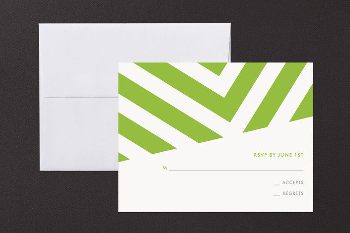 """""""Fracas"""" - Modern Print-it-yourself Rsvp Cards in Peridot by Sarah Lenger."""