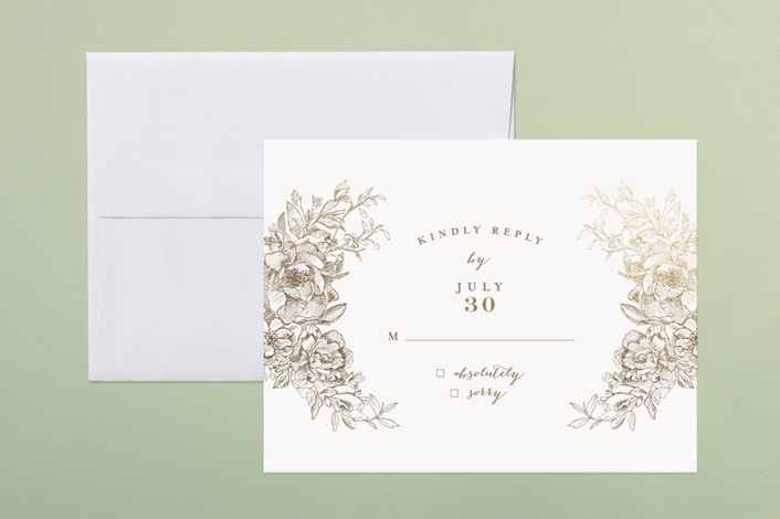 """Engraved Flowers"" - Print-it-yourself Rsvp Cards in Latte by Phrosne Ras."