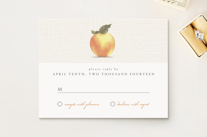 """""""Apple Harvest"""" - Vintage, Rustic Print-it-yourself Rsvp Cards in Burlap by Bourne Paper Co.."""