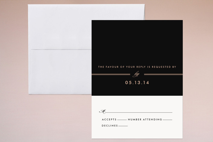 """""""The Threshold"""" - Simple Print-it-yourself Rsvp Cards in Rich Black by Design Lotus."""