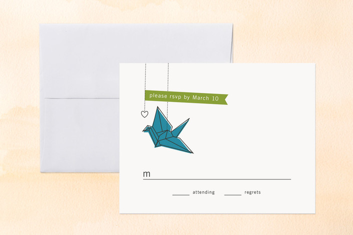 """""""Two Cranes"""" - Modern Print-it-yourself Rsvp Cards in Sea Blue by Snow and Ivy."""