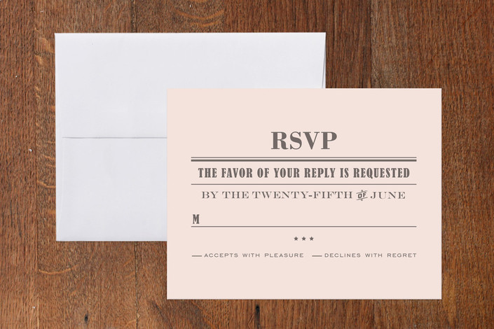 """Front Page News"" - Bold typographic, Vintage Print-it-yourself Rsvp Cards in Light Blush by cambria."