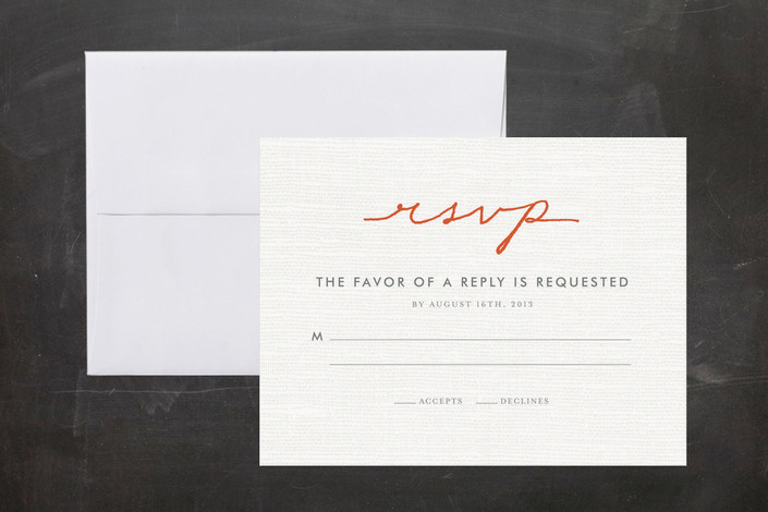 """Simply in Love"" - Bold typographic, Simple Print-it-yourself Rsvp Cards in Orange Zest by cambria."