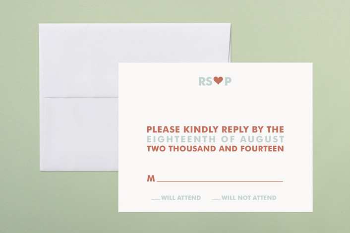 """just married"" - Bold typographic, Whimsical & Funny Print-it-yourself Rsvp Cards in Light Teal by Three Kisses Studio."