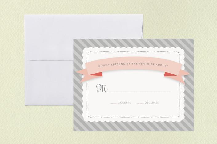 """Grey Sugary Stripe"" - Beach, Destination Print-it-yourself Rsvp Cards in Sugar by Carawayfarer Studio."