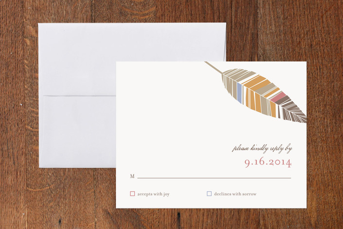 """""""Spirit Feathers"""" - Rustic Print-it-yourself Rsvp Cards in Burnt Orange by Mandy Rider."""