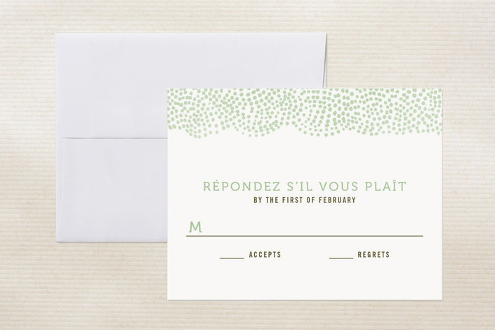 """The Pointillist"" - Hand Drawn Print-it-yourself Rsvp Cards in Emerald by Moglea."