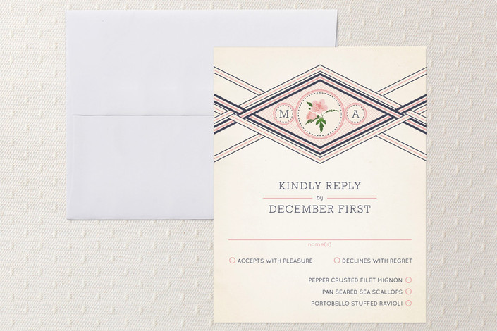 """Elegance Entwined"" - Monogrammed, Floral & Botanical Print-it-yourself Rsvp Cards in Soft Pink by cadence paige design."