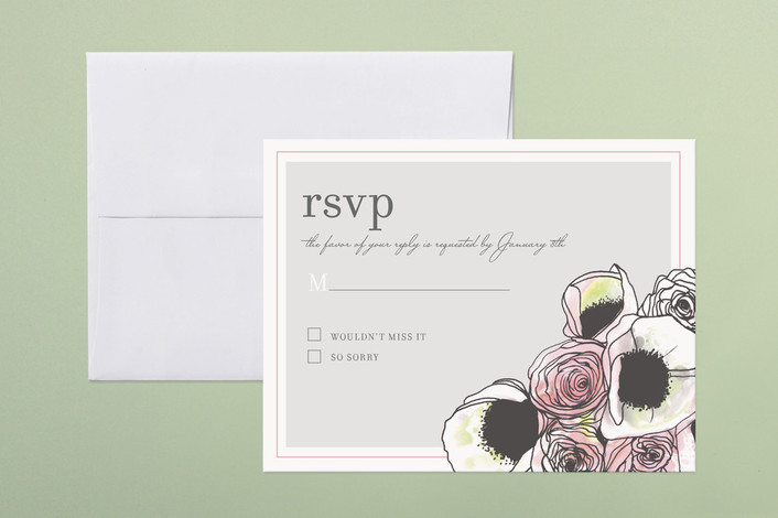 """Belles Fleurs"" - Floral & Botanical, Hand Drawn Print-it-yourself Rsvp Cards in Soft Grey by Penelope Poppy."